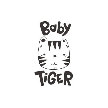 grunge effected cute tiger head drawing as vector with baby tiger hand drawn lettering. cute illustration for kid clothing print textile banner