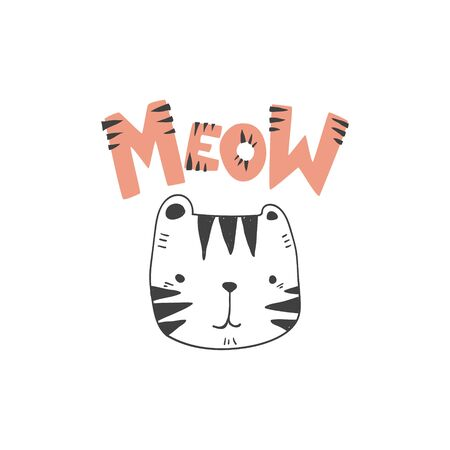 grunge effected cute colored tiger head drawing as vector with meow hand drawn lettering. cute illustration for kid clothing print textile banner