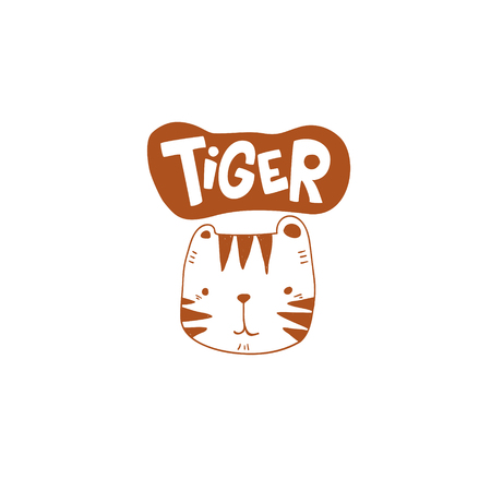 grunge effected cute tiger head drawing as vector with tiger hand drawn lettering. cute illustration for kid clothing print textile banner.