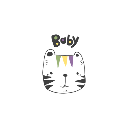 grunge effected cute colored tiger head drawing as vector with baby hand drawn lettering. cute illustration for kid clothing print textile banner.