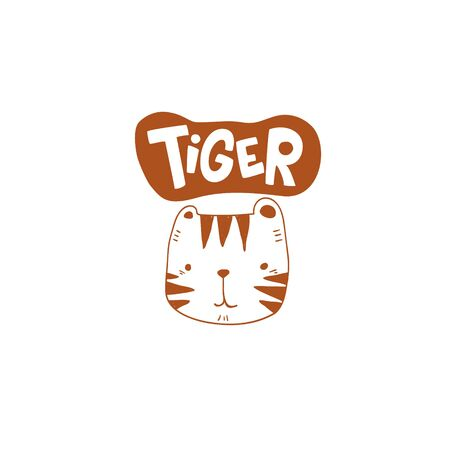 grunge effected cute tiger head drawing as vector with tiger hand drawn lettering. cute illustration for kid clothing print textile banner