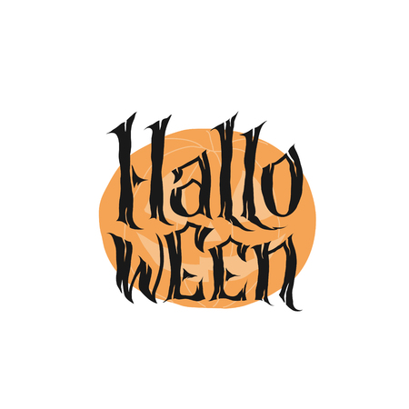 Happy Halloween Text Banner, hand lettering abstract gothic style quote. Stylized unique design, fun and bright. Lettering on pumpkin background. 矢量图像
