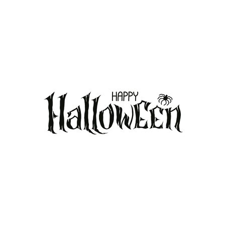 Happy Halloween Text Banner, hand lettering abstract gothic style quote. Stylized unique design, fun and bright