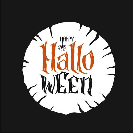 Happy Halloween Text Banner, hand lettering abstract gothic style quote. Stylized unique design, fun and bright. orange pumpkin lettering on grunge scary bakground.
