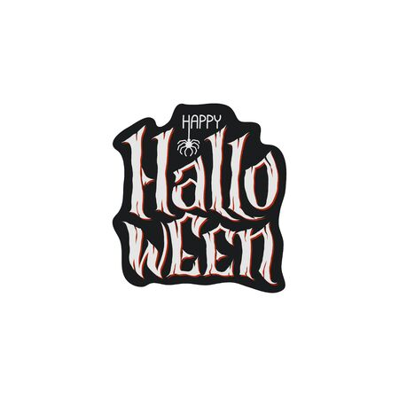 Happy Halloween Text Banner, hand lettering abstract gothic style quote. Stylized unique design, fun and bright. white grey lettering on dark background 免版税图像