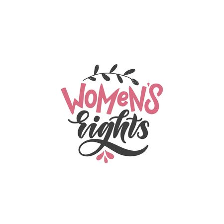 womens rights hand lettering quote. stylized poster of feminism and women power. brush lettering in modern style pink and grey colors motivational quote. 免版税图像