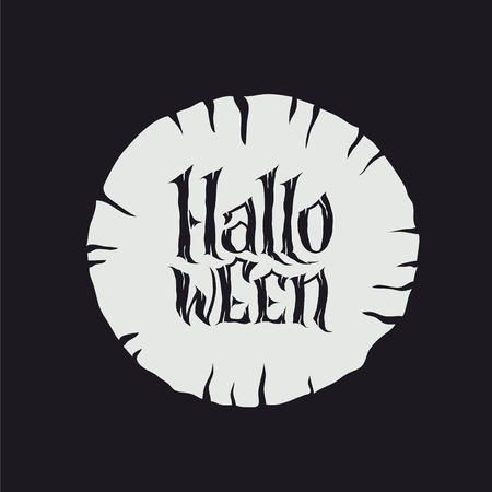 Happy Halloween Text Banner, hand lettering abstract gothic style quote. Stylized unique design, fun and bright. Grunge lettering on black background 矢量图像