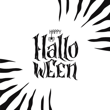 Happy Halloween Text Banner, hand lettering abstract gothic style quote. Stylized unique design, fun and bright. Lettering on scary background.