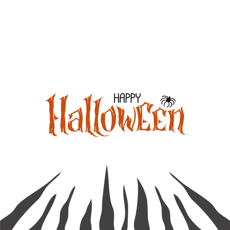 Happy Halloween Text Banner, hand lettering abstract gothic style quote. Stylized unique design, fun and bright. Ogange pumpkin Lettering on scary background