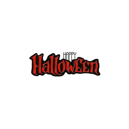 Happy Halloween Text Banner, hand lettering abstract gothic style quote. Stylized unique design, fun and bright. scary blood lettering isolated on white background.