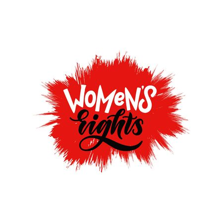 womens rights hand lettering quote. stylized poster of feminism and women power. brush lettering in modern style on red bomb background 免版税图像