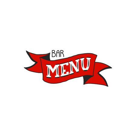 bar cafe menu hand lettering quote in modern style on red ribbon