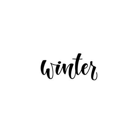Vector illustration: Hello Winter elegant modern brush lettering isolated on white background.