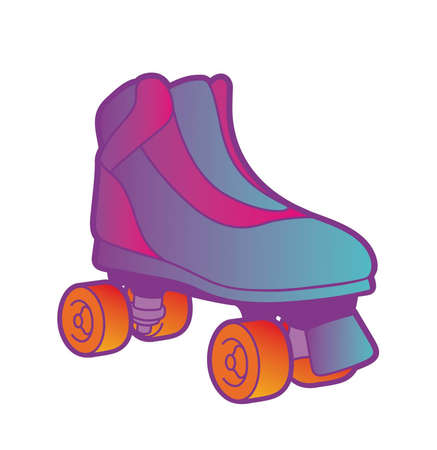 roller skate: Pink and purple roller skate with orange wheels on a white background