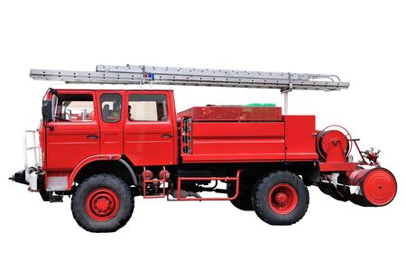 red fire truck back on a road Stock Photo - 8479720