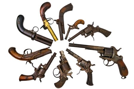 A group of ancient pistols
