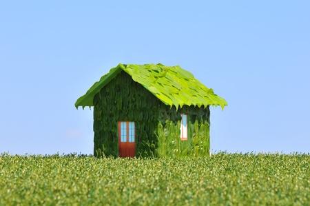 droomhuis: concept van een ecologisch huis Stockfoto