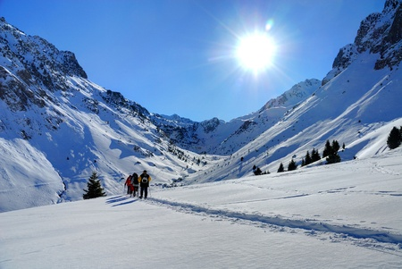 pyrenees: walkers in the French Pyrenees (Bareges) Stock Photo