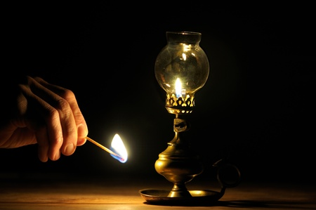 oil  lamp: old oil lamp French operation Stock Photo