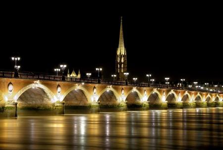 Old stony bridge in France (Bordeaux). photo