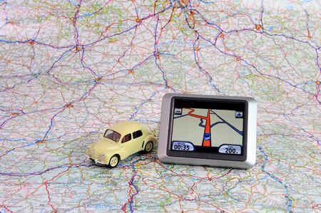 calculate a road route in automobile photo