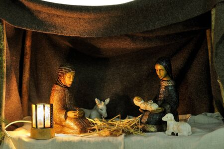 Nativity scene in ceramic figures Stock Photo