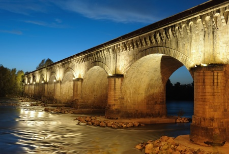 the canal bridge in Agen, South West France Stock Photo