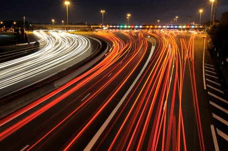 toll: highway toll gate at night, in the south of France