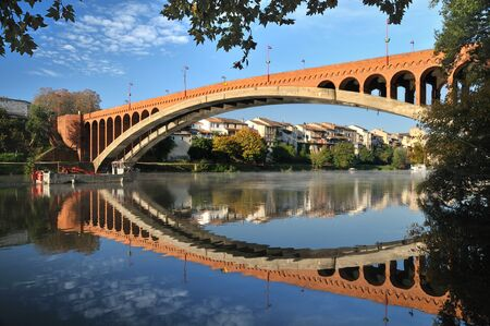 view of the brick bridge (France, Villeneuve/Lot) Stock Photo - 11032359