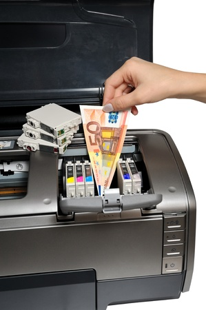 ink jet: excessive expenditure of ink cartridges Stock Photo
