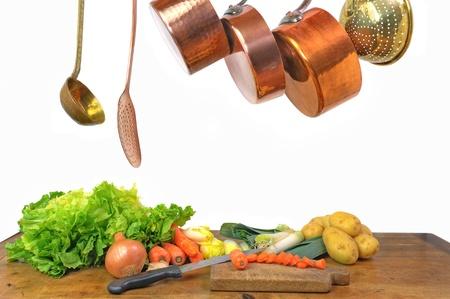 preparation of a vegetables soup