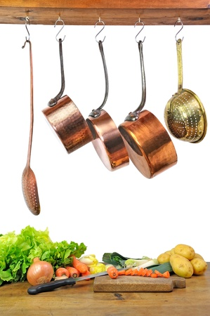 cooking utensils: preparation of a vegetables soup