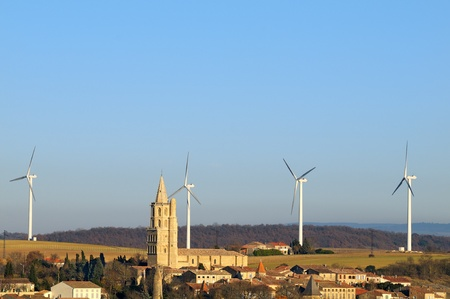 turbines: a wind turbines in the South of France (Avignonet-Lauragais)