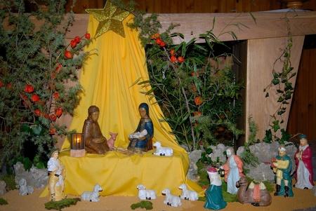 child jesus: Night shot of a nativity scene