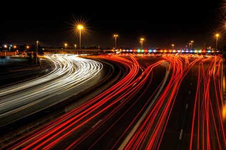 expressway: highway toll gate at night, in the south of France