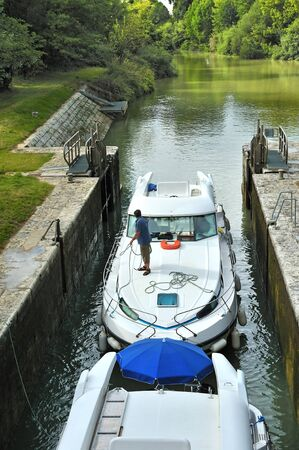 passage of a boat at a lock photo
