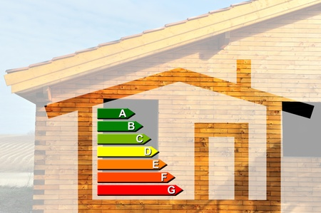 rafter: house and energy classification Stock Photo