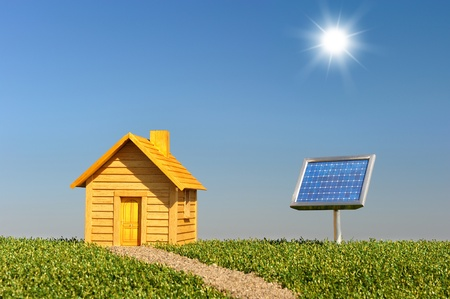 photovoltaic: construction project to protect the planet    Stock Photo