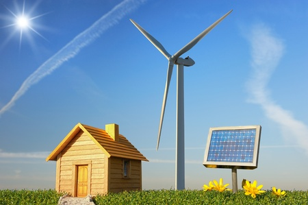 solar wind: construction project to protect the planet    Stock Photo