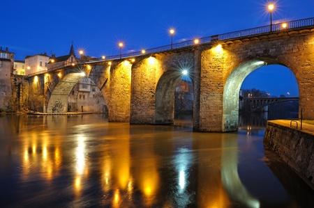 view of the old bridge (France, VilleneuveLot)       photo