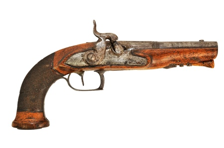 revolver: an old wooden gun powder Stock Photo
