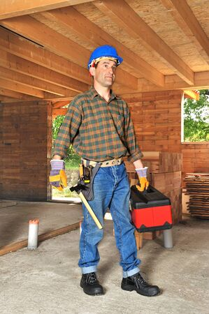 joiner: work equipment of a construction worker Stock Photo