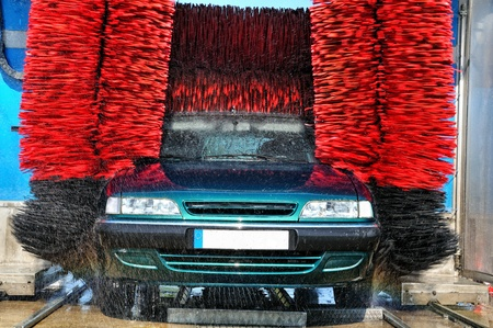 Automatic washing and drying cars photo