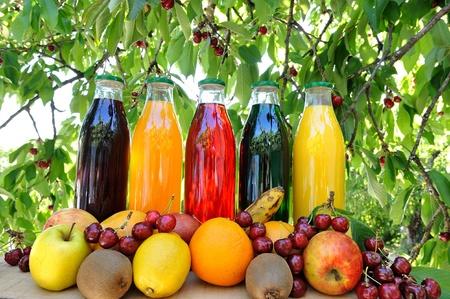 jugo verde: Jugos de frutas frescas y naturales Foto de archivo