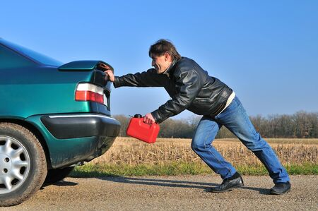 car gas: a car out of gas Stock Photo