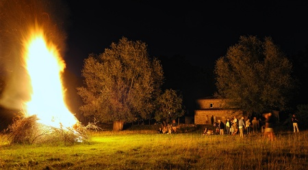 fire wood heat: French festival (fires of St. John) Stock Photo