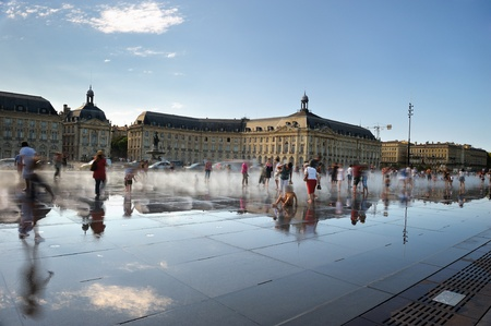 bordeaux: relaxation for tourists on the water mirror of Bordeaux in French