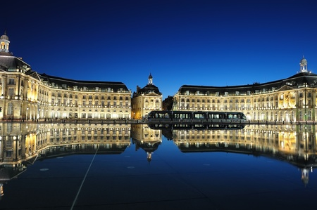 historic place: Place de la Bourse, of Bordeaux with reflectance from the water, France