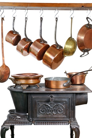 pans and kitchen utensils in copper Stock Photo