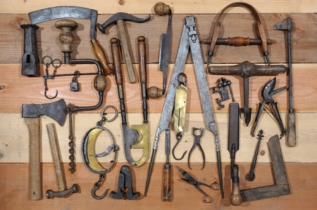 woodworking: many tools of the past Stock Photo